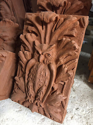 Kiln fired, hand-pressed red terracotta  Victorian owl panel Nr. 129