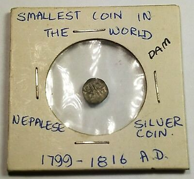 Nepal Silver Dam 1799 - 1816 Smallest Coin In The World