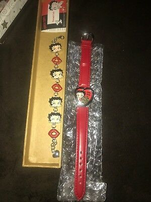Betty Boop Watch with Red Band and Bracelet set - Rare Heart