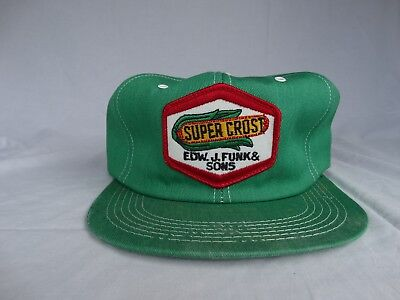 Vintage Super Crost Seeds Farmer Hat, Snap back with Embroidered Patch
