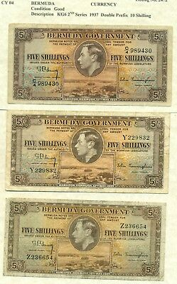 Lot 904 Bermuda Currency 5/ Notes  3 Scans 1937 Double Prefix And 2 Single 1Is Z