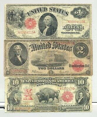 $10 1901 Bison, $1 1917 Sawhorse and $2 1917 Bracelet United States Notes