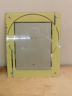 Vintage Reverse Painted Art Deco Picture Frame Yellow&Silver 10x12