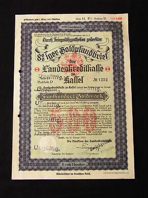 Deutsches Reich Goldpfandbrief 500 Goldmark Landeskreditkasse Kassel 1930