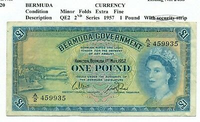 Lot 910 Bermuda  1 Pound Note 1957 2Nd Series With Out Security Strip Very Fine