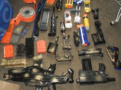 2 Painted Nerf Guns with Large Lot of Misc. Attachments - Used