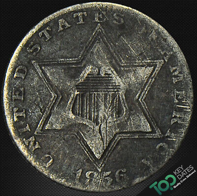 1856  3¢ Type 2, Large Star, 3 Lines Three Cent Silver ~ Vf Very Fine ~ #3672Fou
