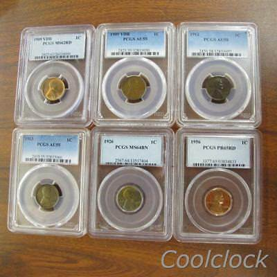 6 Pc Lot 1909-1956 Lincoln Head Wheat Back Penny 1 Cent Coins NGC Graded #JC588