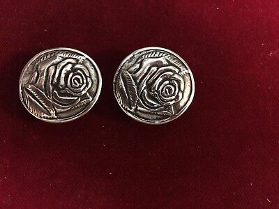 "Concho: Pair Sterling ""ROSE"" conchos with Post and screw"