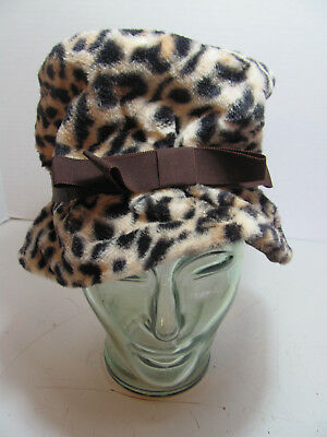 Cool Vintage Faux Leopard Hat With Brown Bow