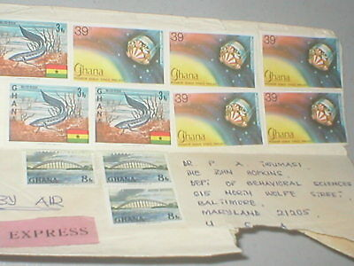 Ghana 1980s airmail cover  Pioneer Venus Space Project stamps