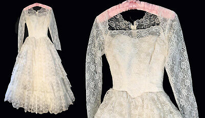 VINTAGE1950's LAYER UPON LAYER OF RUFFLED  LACE WEDDING DRESS