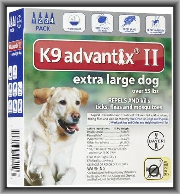 Bayer K9 Advantix II Flea & Tick Treatment for XL Dogs Over 55 lbs 4 Months