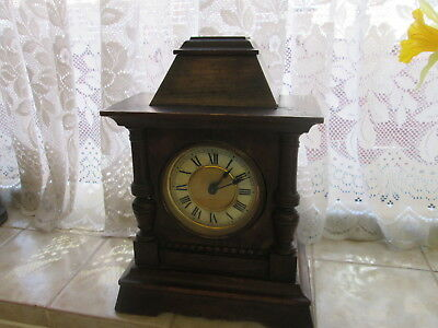 Antique / Vintage Wooden Mantel Clock Case and Clock with Key...For Repair