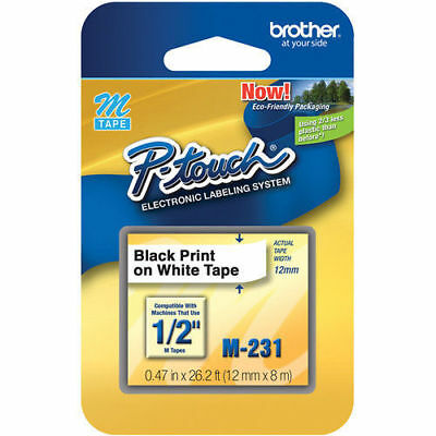 """NEW GENUINE Brother M231 P-Touch Label Tape, 1/2"""" Black on White M Series M-231"""