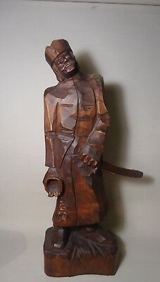 Vintage hand carved wood Military Soldier In Uniform-Folk Art Military Army