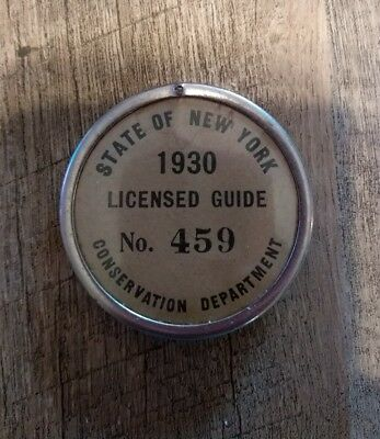 Vintage 1930 State Of New York Conservation Department Licensed Guide Pin Button