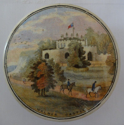 Collectible Antique Vintage Prattware Porcelain Pot Lid 'Walmer Castle'