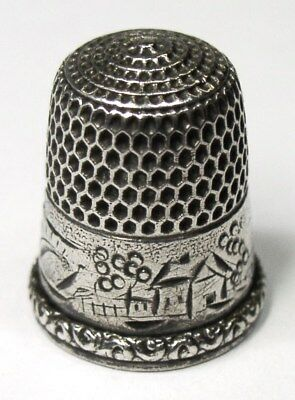 Antique Simons Brothers Sterling Silver Thimble Landscape Country Cottage Scene