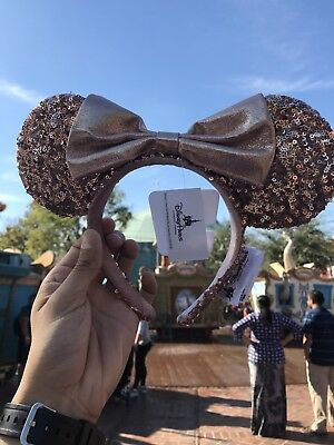 AUTHENTIC Disneyland DLR Rose Gold Champagne Minnie Mouse Ears Headband Mickey