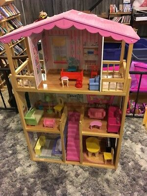 KidKraft Dollhouse Large Wooden Doll House Barbie Size Play Furniture