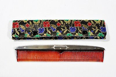 Ornate Antique WEBSTER Sterling Silver Hair Comb w/ Embroidered Pouch Excellent