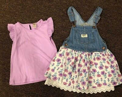 Girls Size 4T Oshkosh Floral Jean Jumper Overall Skirt & Matching Top GUC