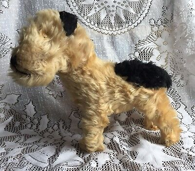 Antique Wire Hair Fox Terrier Stuffed Toy With Moveable Neck
