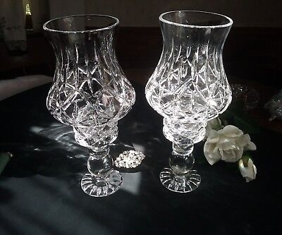 Elegant Pair of  Crystal 4 Pcs Hurricane Mantle Lusters/ Candle Holders pristine