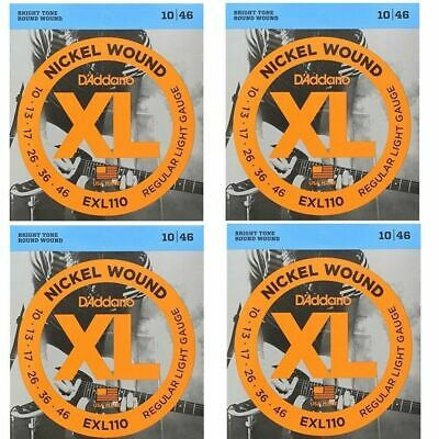 4 packs D'Addario EXL110  Regular Light Electric Guitar Strings 10 - 46  EXL 110