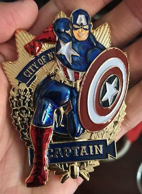 Nypd Captain Shield Captain America Challenge Coin (Colors)