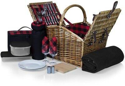 Willow Red Wood Picnic Basket Set Somerset Leather Straps Serves 2 Cozy Plaid
