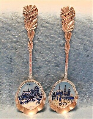 Gorgeous Vintage 1970 & 1971 Blue Delft Christmas Silver Plate Collector Spoons