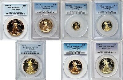 1986 1987 1994 Gold Eagle $50 $25 $10 $5 Pcgs Pr70 3 Years Complete Set