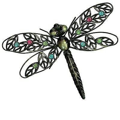 Garden Dark Metal Dragonfly Wall Art Hanging Outdoor Decoration Ornament  Stones