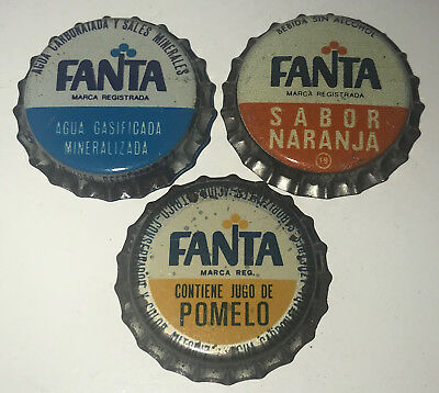 3 UNUSED FANTA 1980s URUGUAY (SOUTH AMERICA) BOTTLE CAPS