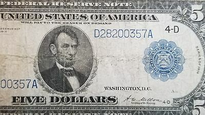 Series 1914 Five Dollar $5 Blue Seal Cleveland Federal Reserve Banknote FR 859A