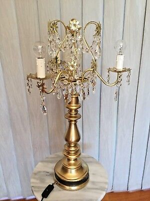 Vintage Crystal and Brass Chandelier Table Lamp