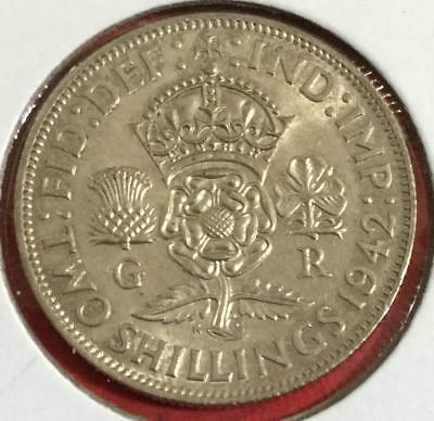 1942 British SILVER 2 Shillings Choice Uncirculated! Old British Coin