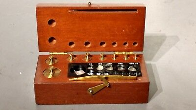 Apothecary / pharmacutical weight set in nice wooden box 10 MG to 50 G weights