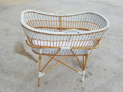 Retro Wicker/Cane Baby Bassinet, Moses Basket display baby  excellent condition
