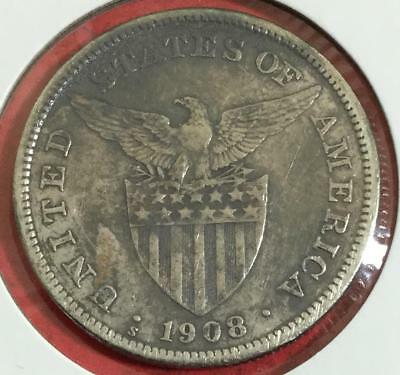 1908 PHILIPPINES SILVER PESO! Old Asian Coin