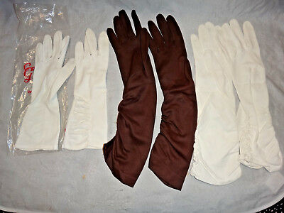 Lot of 3 Pairs Ca 1960s Ladies Vintage Gloves ~ White, Brown, Hong Kong