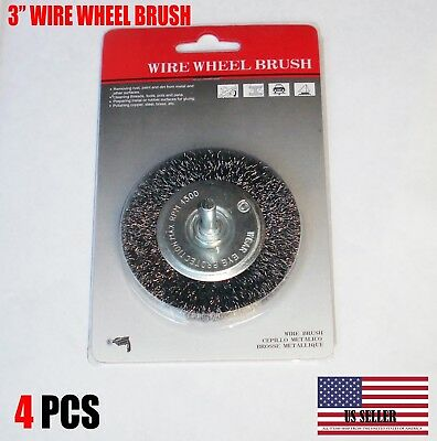 "4 PCS - 3"" Crimped Carbon Steel Wire Wheel Brush w/ 1/4"" Shank For Die Grinder"