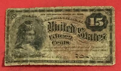 "1867 US Fractional Currency ""FIFTEEN CENTS"" Rough! Hard to Find Denomination!"