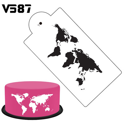 world map cut out stencil