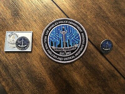 lapd RACR challenge coin, patch, and lapel pin
