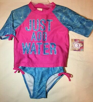Toddler Girls 2 Piece Swim Suit Size 2T Pink And Blue Short Sleeve Nwt