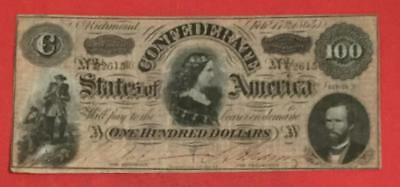 1864 $100 US Confederate States of America! Choice VF! Old US Currency