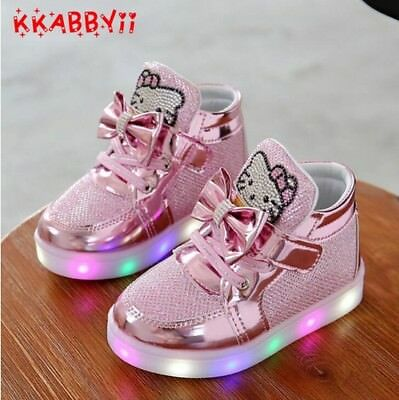 Children's Sneakers Kids Chaussure Enfant Hello Kitty Girls Shoes With Led Light